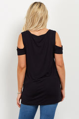 Black Basic Open Shoulder V Neck Maternity Top