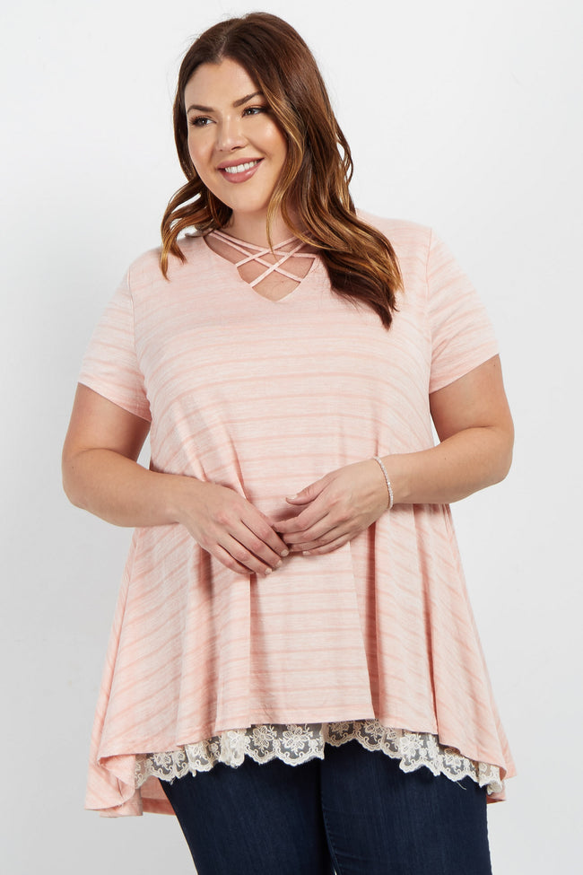 Peach Crochet Underlay Caged Front Plus Maternity Top