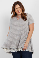 Heather Grey Crochet Underlay Caged Front Plus Top