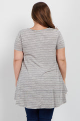 Heather Grey Crochet Underlay Caged Front Plus Maternity Top
