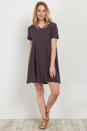 Charcoal Strappy Front Shift Dress