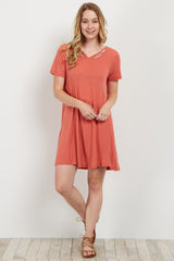 Salmon Strappy Front Shift Dress