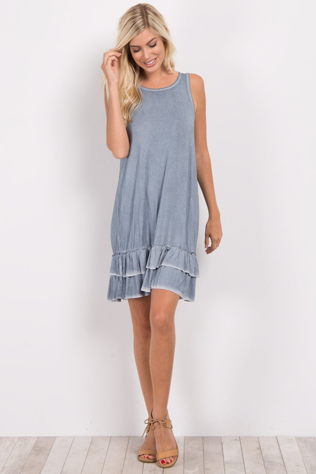 Blue Faded Ruffle Trim Dress