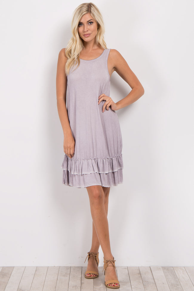 Lavender Faded Ruffle Trim Dress