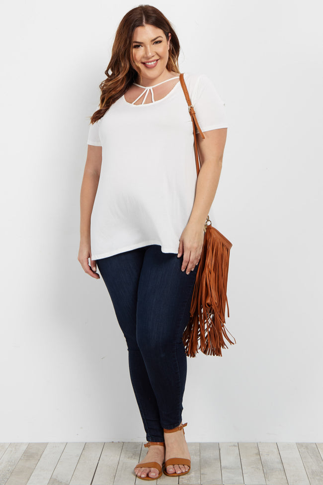 Ivory Solid Strappy Front Plus Top