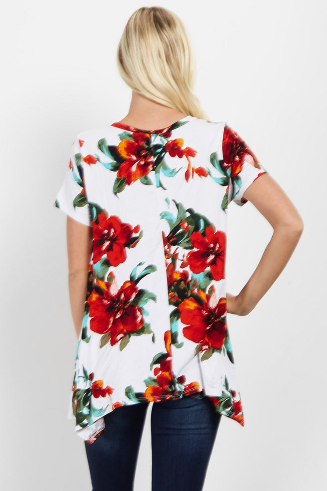 White Floral Asymmetrical Top