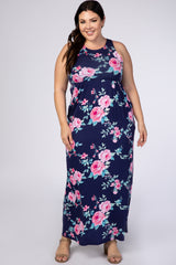 Navy Floral Sleeveless Plus Maternity Maxi Dress
