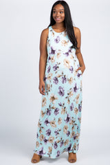 Aqua Floral Sleeveless Plus Maternity Maxi Dress