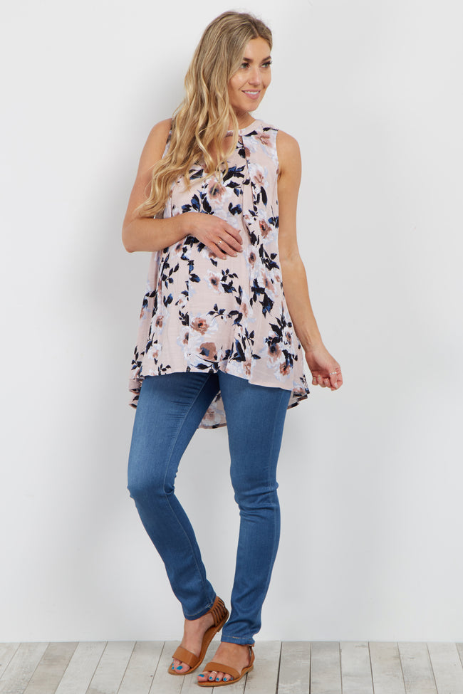 Pink Floral Cutout Sleeveless Maternity Blouse