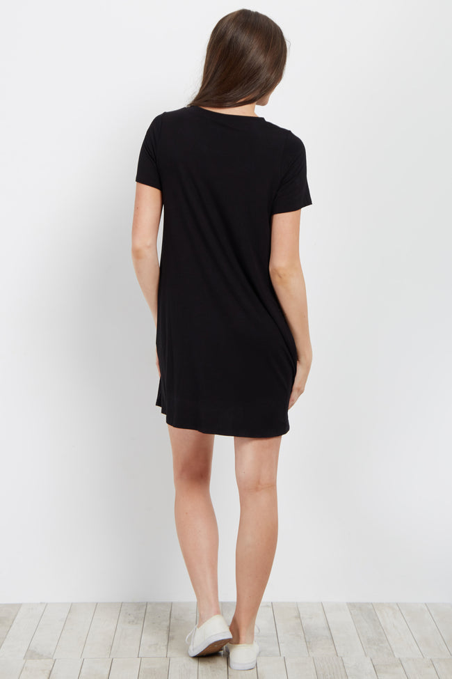Black Bamboo Basic Short Sleeve Dress
