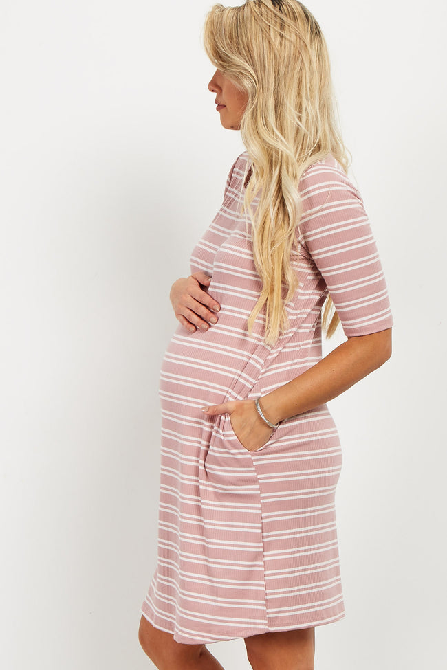 Pink Striped Ribbed Maternity Shift Dress