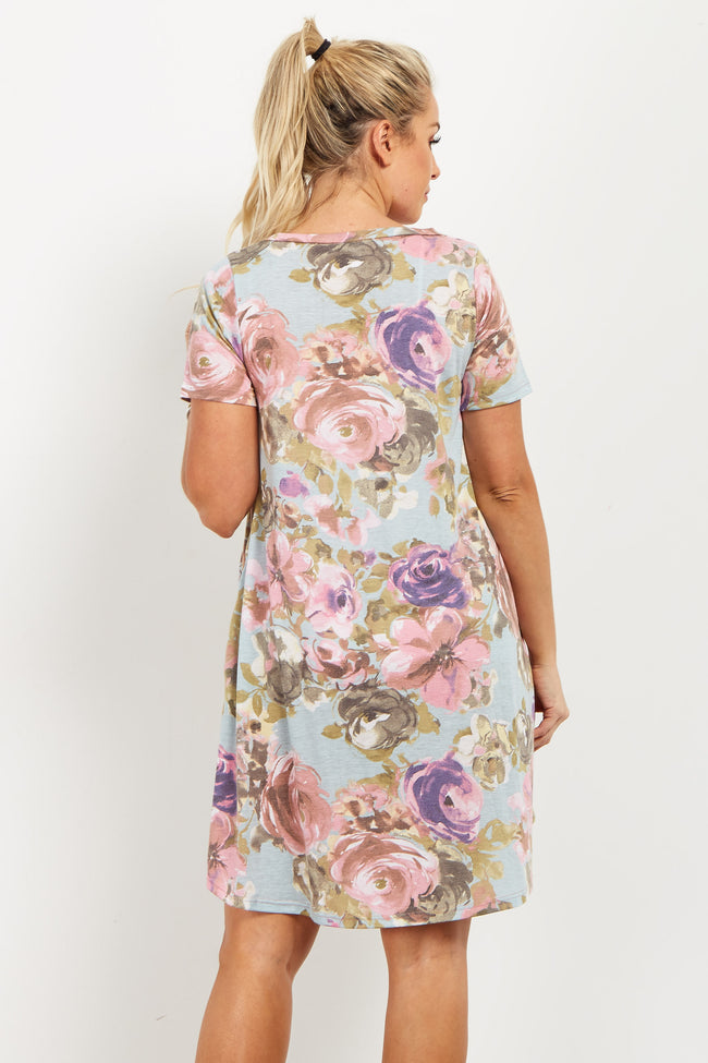 Blue Floral Short Sleeve Maternity Shift Dress