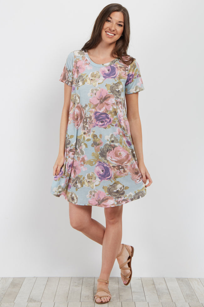 Blue Floral Short Sleeve Shift Dress