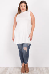 Cream Basic Mock Neck Plus Tunic