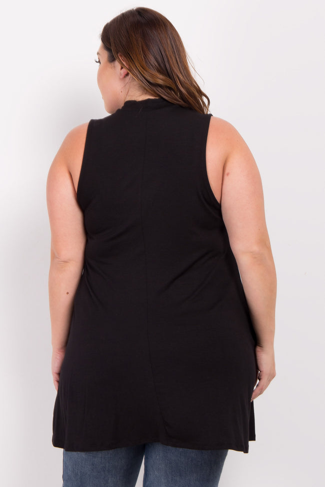 Black Basic Mock Neck Plus Tunic
