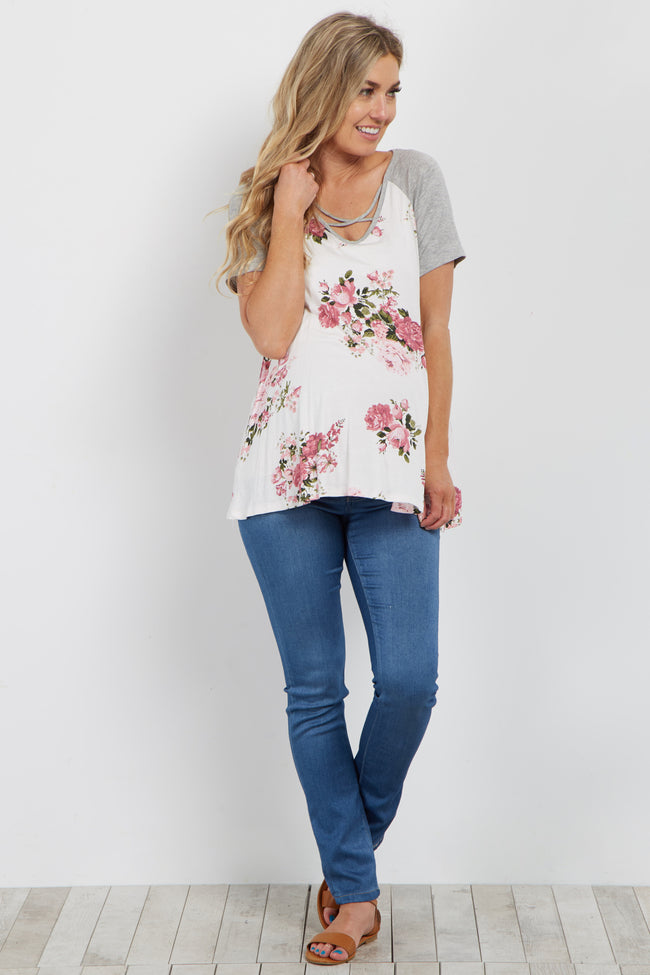 Ivory Floral Crisscross Colorblock Maternity Top
