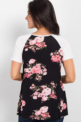 Black Floral Crisscross Colorblock Top