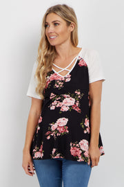 Black Floral Crisscross Colorblock Maternity Top