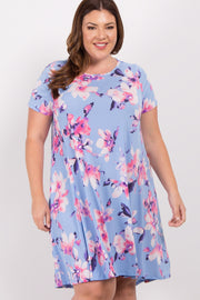 Blue Floral Hi-Low Plus Dress