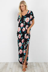 Black Floral V Neck Maternity Maxi Dress