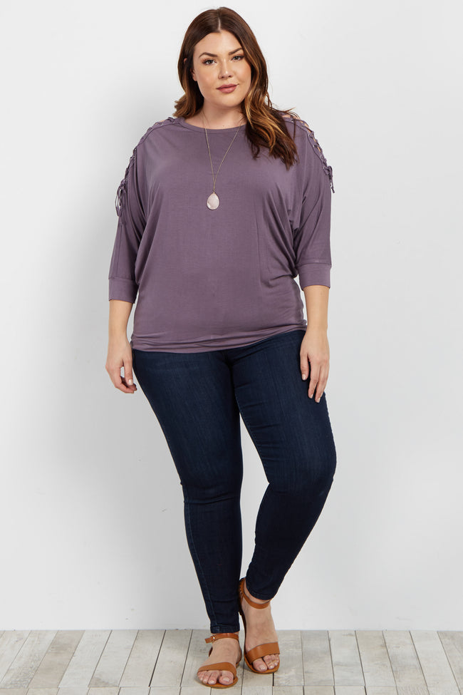 Purple Lace Up Dolman Sleeve Plus Top