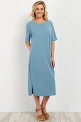 Blue Knit Short Sleeve Maternity Midi Dress
