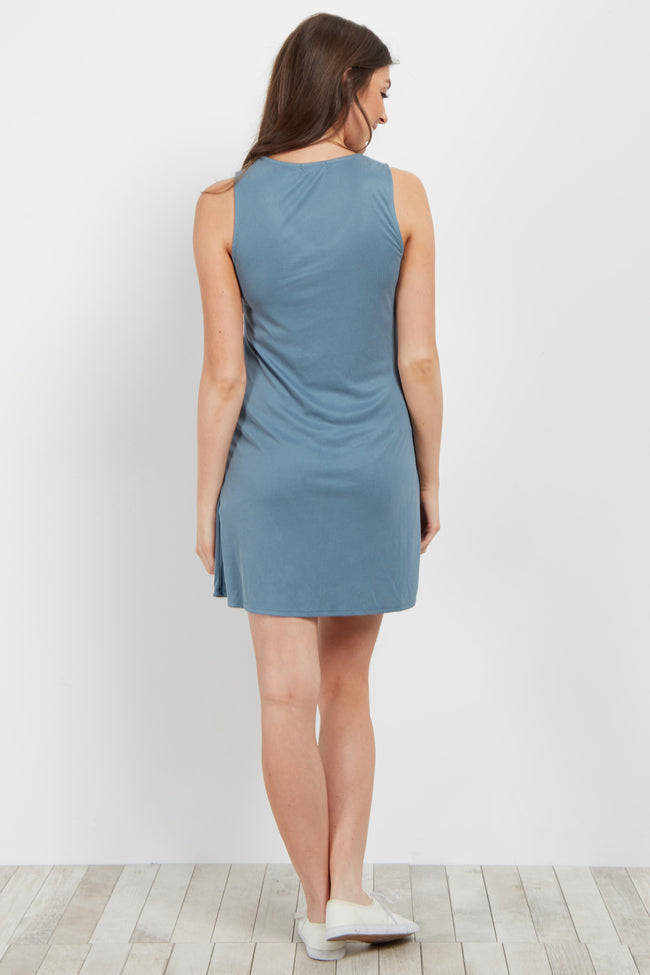 Blue Waist Tie Ribbed Dress