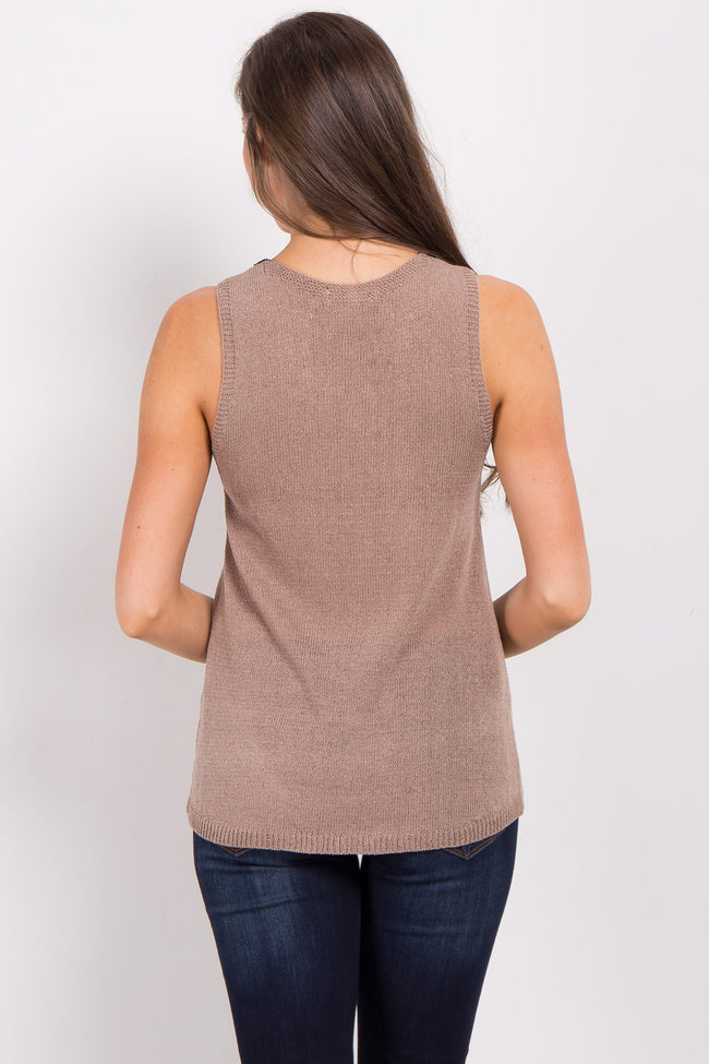 Taupe Lace-Up Sleeveless Knit Top