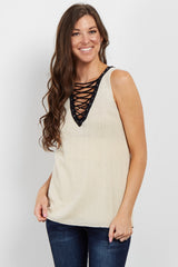 Cream Lace-Up Sleeveless Knit Top