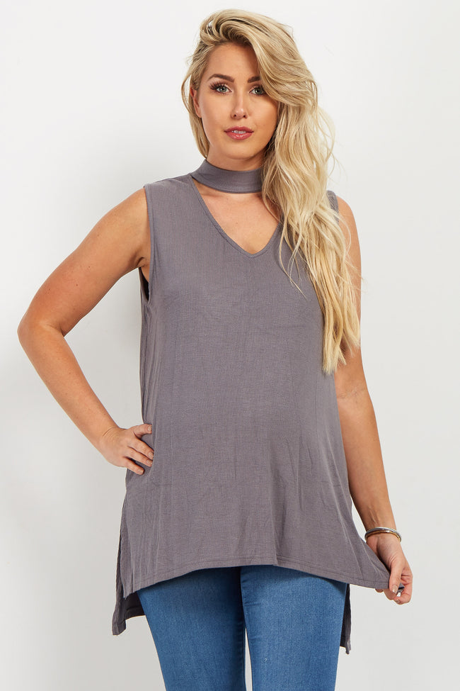 Charcoal Choker Neck Sleeveless Maternity Top