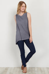 Charcoal Lace-Up Open Back Tank Top