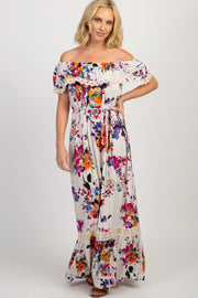 Ivory Abstract Floral Off Shoulder Maxi Dress