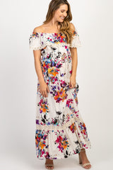 Ivory Abstract Floral Off Shoulder Maternity Maxi Dress