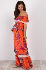 Coral Abstract Floral Off Shoulder Maternity Maxi Dress