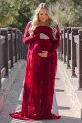 Burgundy Off Shoulder Open Plus Maternity Photoshoot Gown/Dress