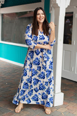 Ivory Blue Floral Sash Tie Plus Maternity/Nursing Maxi Dress