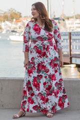 Red Floral Sash Tie Plus Maxi Dress