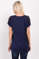 Navy Solid Crochet Shoulder Top