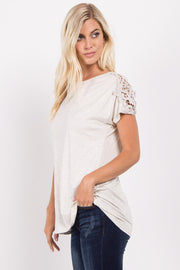 Beige Solid Crochet Shoulder Top