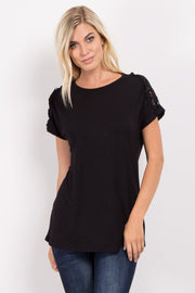 Black Solid Crochet Shoulder Top