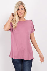 Mauve Solid Crochet Shoulder Top