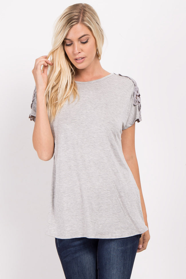 Grey Solid Crochet Shoulder Maternity Top