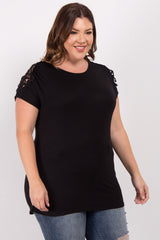 Black Solid Crochet Shoulder Plus Maternity Top