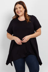 Black Cutout Asymmetrical Plus Top