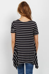 Black Striped Asymmetrical Hem Maternity Top