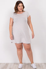 Grey Striped Short Sleeve Plus Maternity Dress