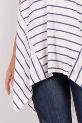 Blue Striped Asymmetrical Hem Top