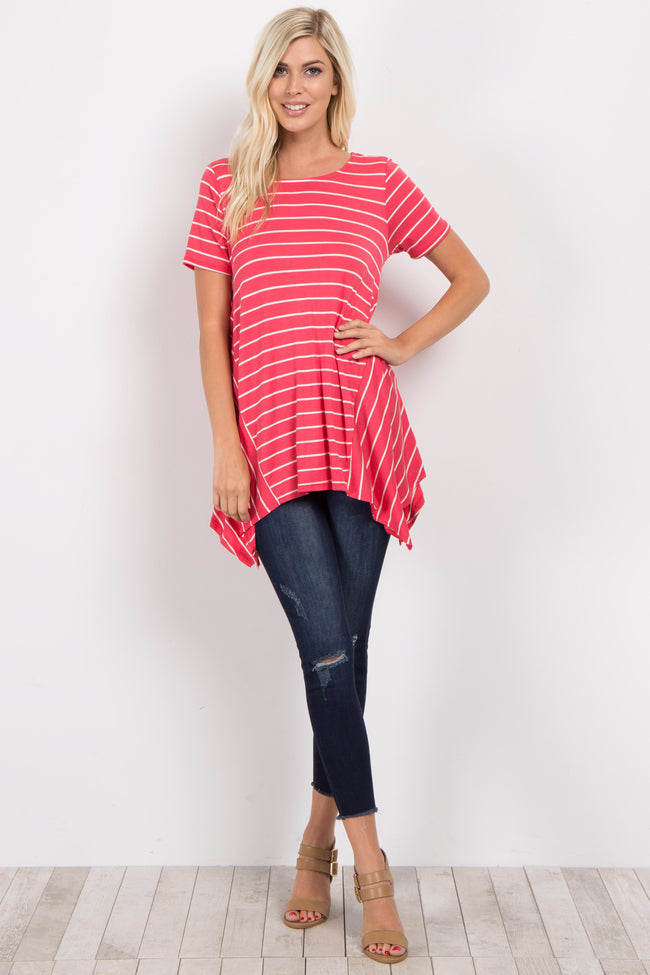 Fuchsia Striped Asymmetrical Hem Top