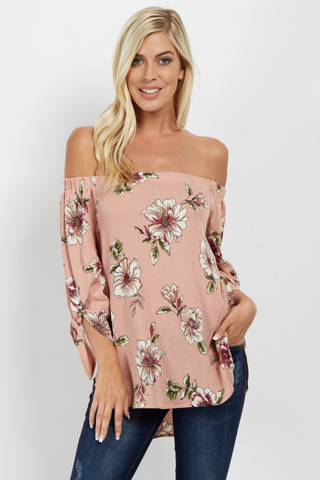 Pink Floral Tie Sleeve Off Shoulder Top