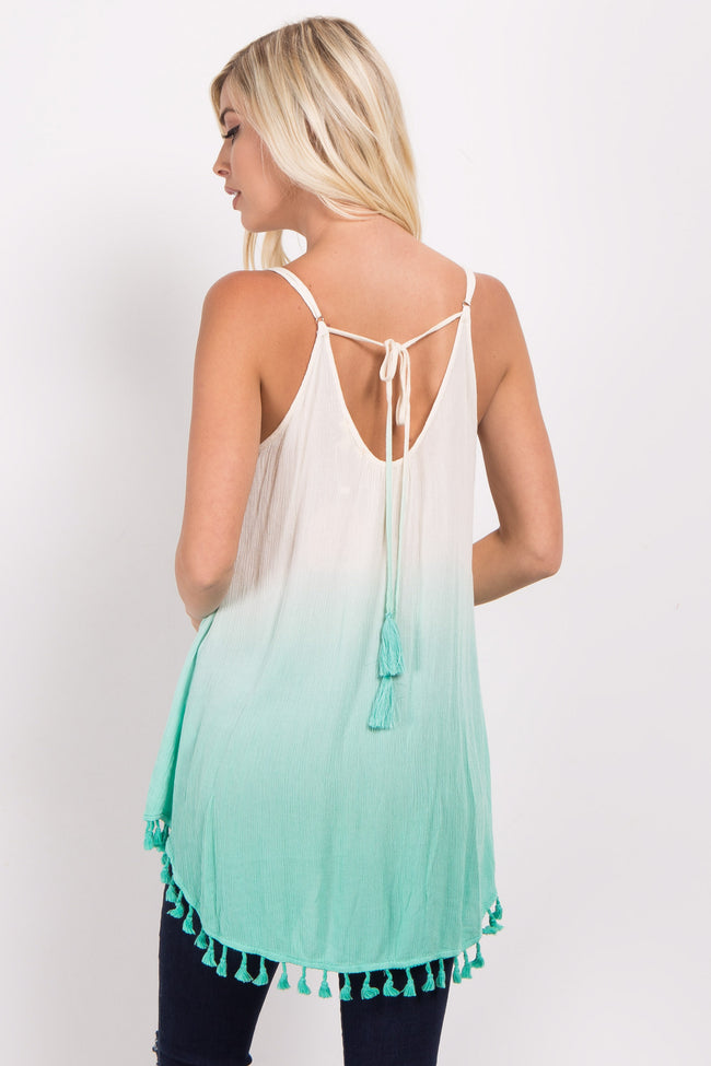 Mint Ombre Tassel Trim Top